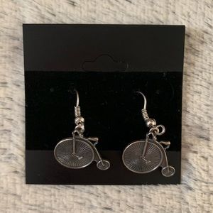 Jewelry - NWOT Silver Penny-Farthing Bicycle Earrings